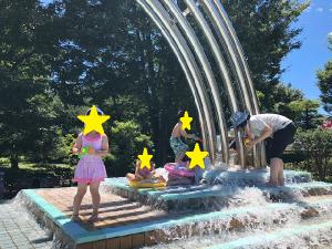 水遊びをする子どもたちの写真