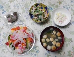 ひな祭りの日の夕食の写真