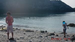 海で遊ぶ子供の写真