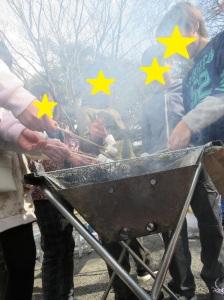 焼きマシュマロを焼いている様子1